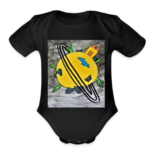 desert planet - Organic Short Sleeve Baby Bodysuit