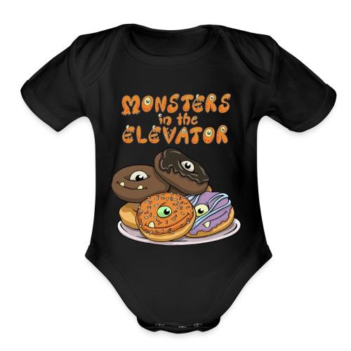 Monster Donuts Logo Mug - Organic Short Sleeve Baby Bodysuit