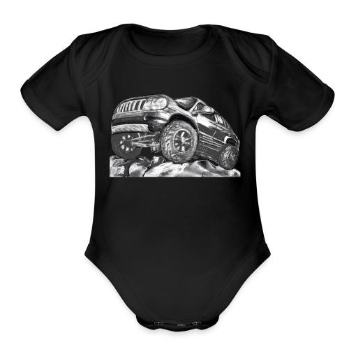 4 wheel SUV - Organic Short Sleeve Baby Bodysuit
