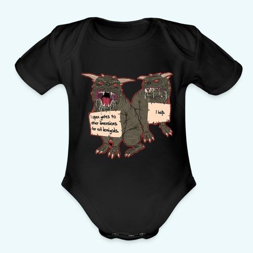 Demonic Terror Dog-Shaming - Organic Short Sleeve Baby Bodysuit