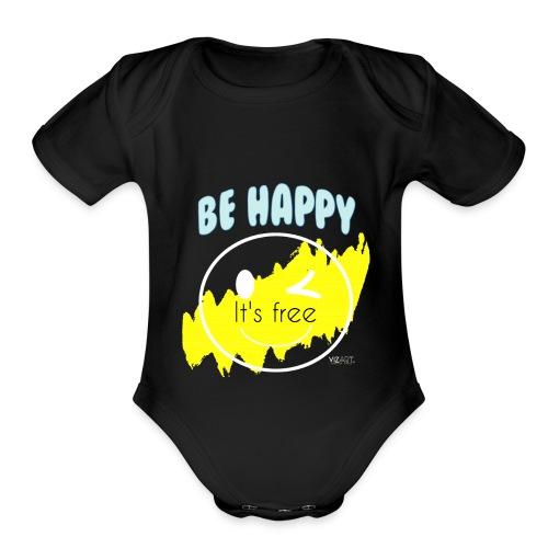 Be happy - Organic Short Sleeve Baby Bodysuit