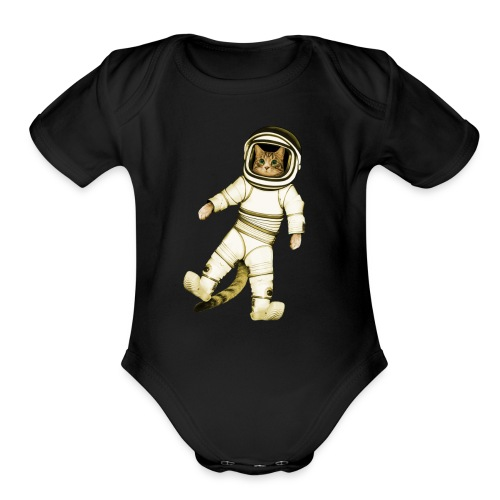 Outer-Space Astronaut Kitty - Organic Short Sleeve Baby Bodysuit