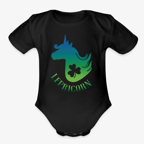 Unicorn Leprechaun St Patricks day - Organic Short Sleeve Baby Bodysuit
