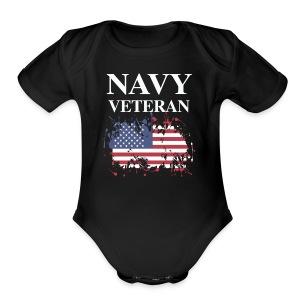 NAVY VETERAN American Flag - Short Sleeve Baby Bodysuit