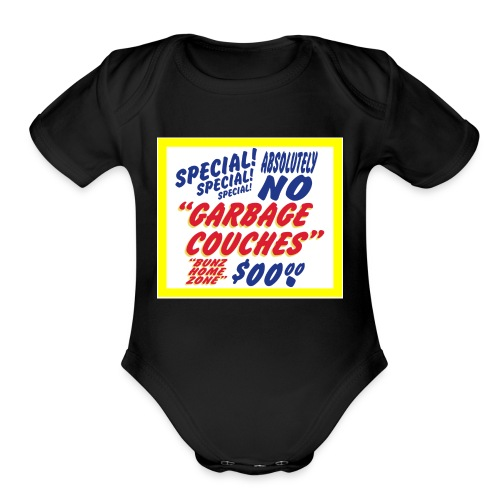Bunz Home Zone Loyal Larry Garbage Couch - Organic Short Sleeve Baby Bodysuit