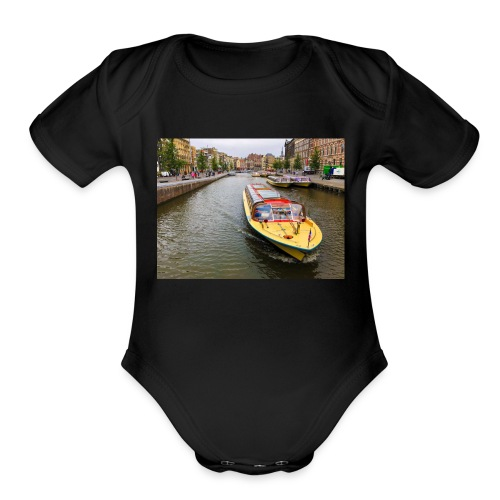 Boats in Amsterdam - Organic Short Sleeve Baby Bodysuit