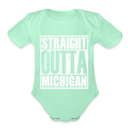 Straight Outta Michigan - Organic Short Sleeve Baby Bodysuit