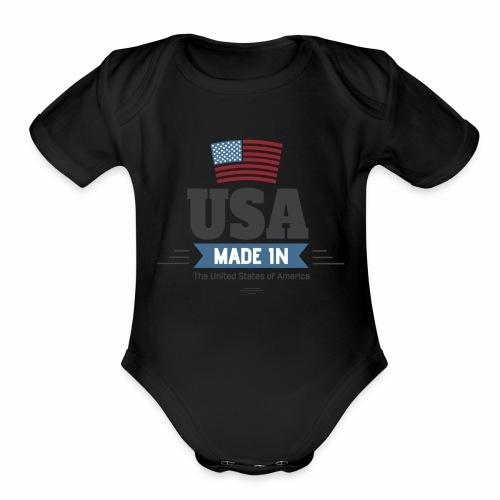 America USA - Organic Short Sleeve Baby Bodysuit