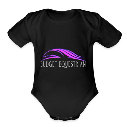 Budget Equestrian Logo - Organic Short Sleeve Baby Bodysuit
