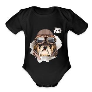 Portrait Bulldog Vintage Leather Aviator Helmet - Short Sleeve Baby Bodysuit