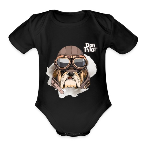 Portrait Bulldog Vintage Leather Aviator Helmet - Organic Short Sleeve Baby Bodysuit