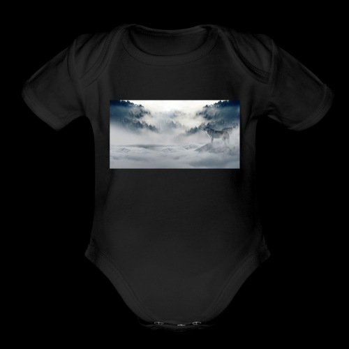 wolf_winter - Organic Short Sleeve Baby Bodysuit