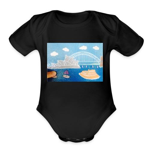 Sydney Harbour Sand Art 800x554 - Organic Short Sleeve Baby Bodysuit