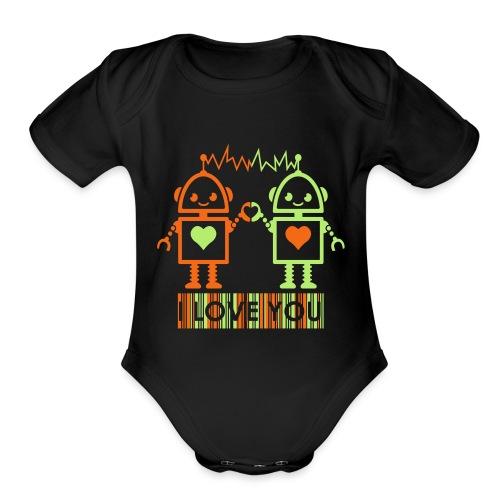 Robot Couple - Organic Short Sleeve Baby Bodysuit