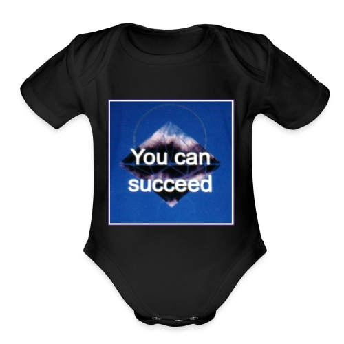 Never give up - Organic Short Sleeve Baby Bodysuit