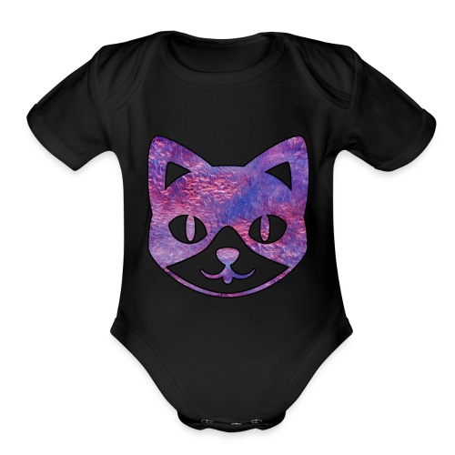 Pink Furry Kitty - Organic Short Sleeve Baby Bodysuit