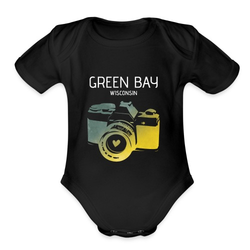 Green Bay camera with heart - Organic Short Sleeve Baby Bodysuit