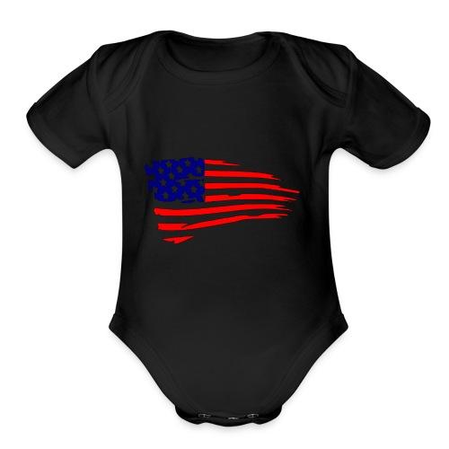 USFlagRed Blue - Organic Short Sleeve Baby Bodysuit
