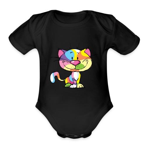 Cute Kitty Cartoon Colorful Pop Art Design - Organic Short Sleeve Baby Bodysuit