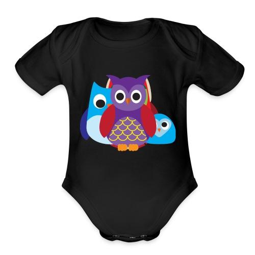 Cute Owls Eyes - Organic Short Sleeve Baby Bodysuit