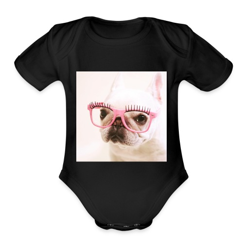Cute dog wearing pink glasses - Organic Short Sleeve Baby Bodysuit