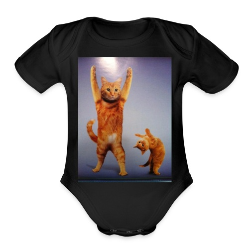 can do all things cat - Organic Short Sleeve Baby Bodysuit
