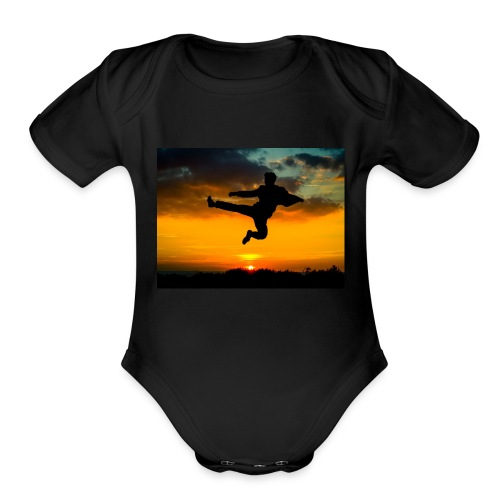 flying kick 1000x750 - Organic Short Sleeve Baby Bodysuit
