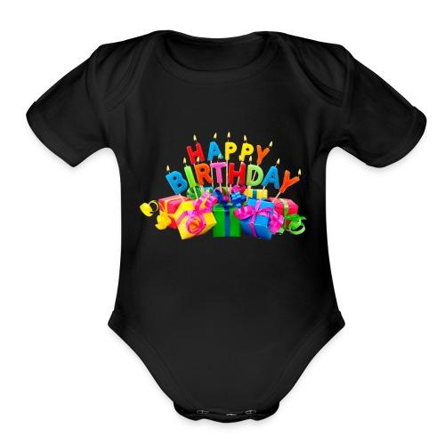 happy birthday - Organic Short Sleeve Baby Bodysuit