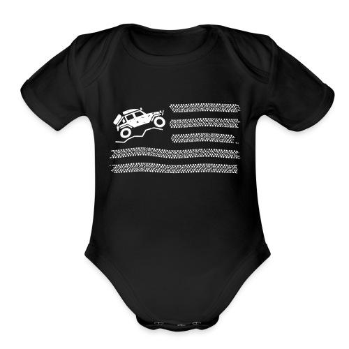 American Off Road 4x4 Overland Flag - Organic Short Sleeve Baby Bodysuit