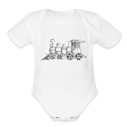 steam train - Organic Short Sleeve Baby Bodysuit