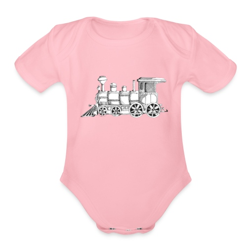 steam train - Organic Short Sleeve Baby Bodysuit