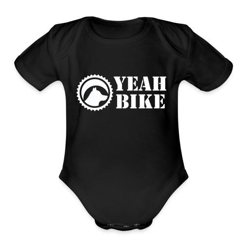 Yeah Bike white - Organic Short Sleeve Baby Bodysuit