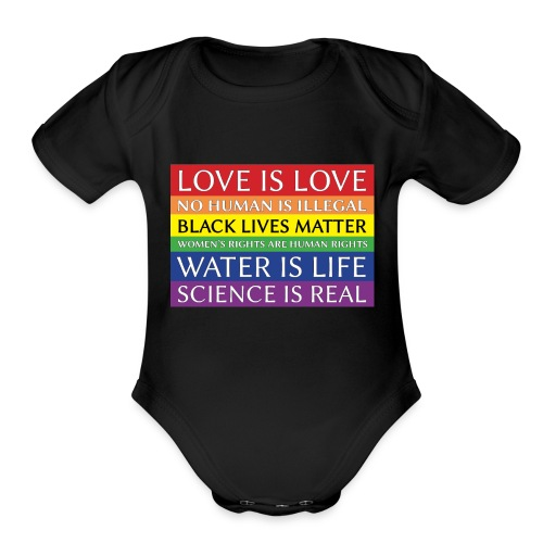 rainbow solidarity - Organic Short Sleeve Baby Bodysuit