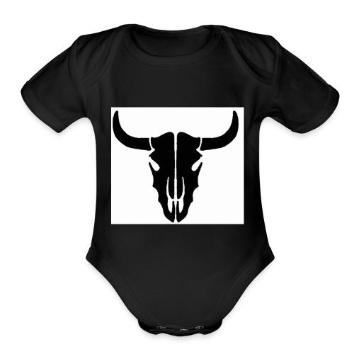 Longhorn skull - Organic Short Sleeve Baby Bodysuit
