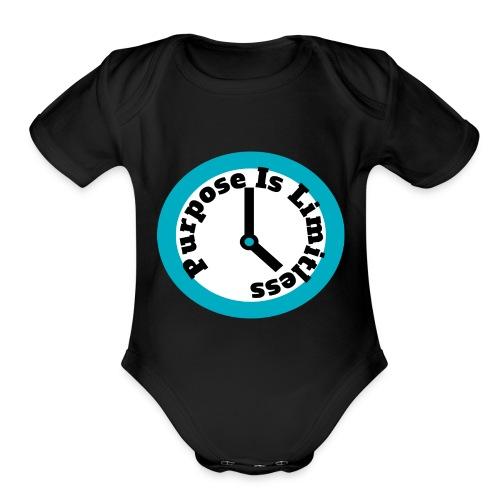 Clock limitless white - Organic Short Sleeve Baby Bodysuit
