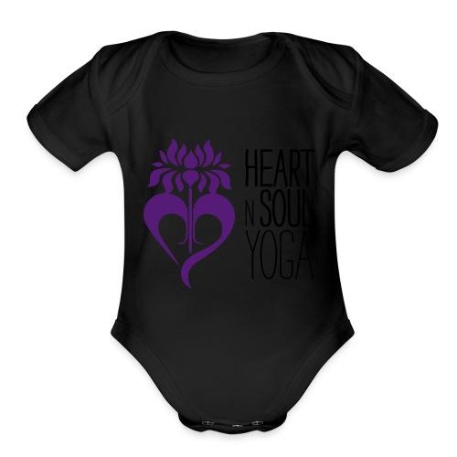 HeartNSoulYoga Logo Stacked - Organic Short Sleeve Baby Bodysuit