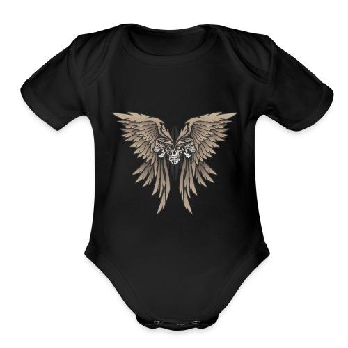 Skulls and Wings Illustration - Organic Short Sleeve Baby Bodysuit