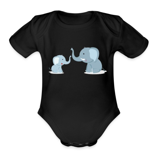 Father and Baby Son Elephant - Organic Short Sleeve Baby Bodysuit