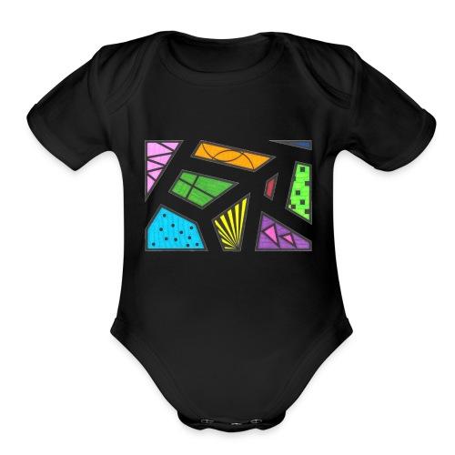 geometric artwork 1 - Organic Short Sleeve Baby Bodysuit