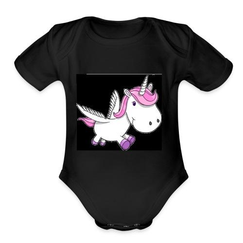 unicorn one - Organic Short Sleeve Baby Bodysuit