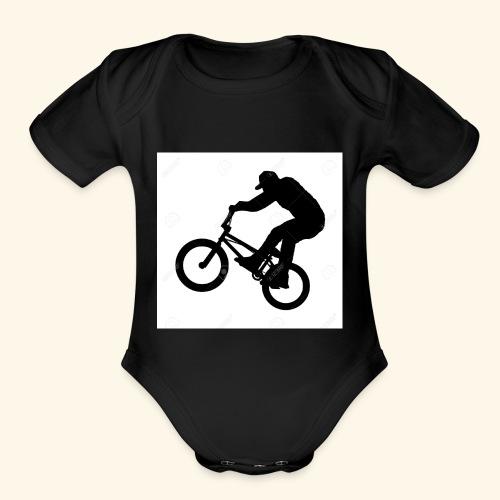Rider silhouette - Organic Short Sleeve Baby Bodysuit