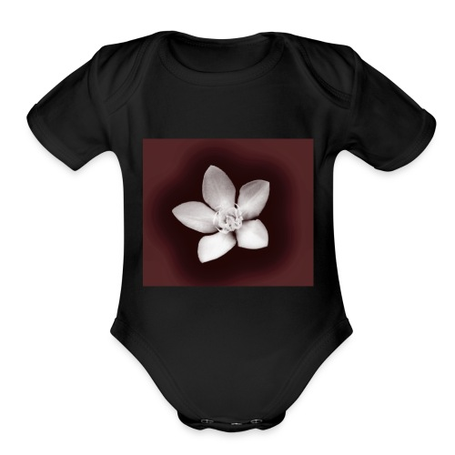 Beautiful Flower Design - Organic Short Sleeve Baby Bodysuit