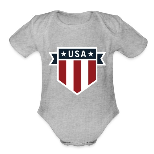 USA Pride Red White and Blue Patriotic Shield - Organic Short Sleeve Baby Bodysuit