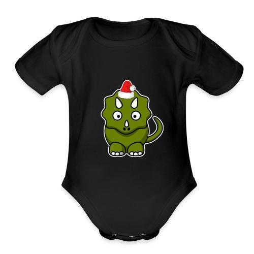 Happy Holidays Triceratops - Organic Short Sleeve Baby Bodysuit