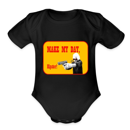 Make my day, Hipster Yellow/Red - Organic Short Sleeve Baby Bodysuit