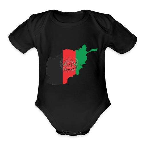 Afghanistan Flag in its Map Shape - Organic Short Sleeve Baby Bodysuit