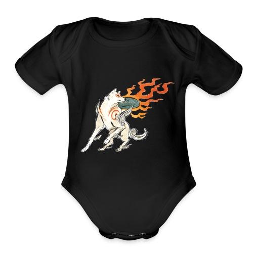 Fire wolf - Organic Short Sleeve Baby Bodysuit