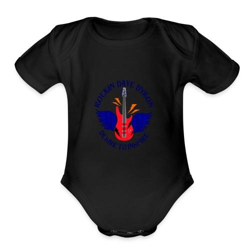 Rockin Dave Byron Logo - Organic Short Sleeve Baby Bodysuit