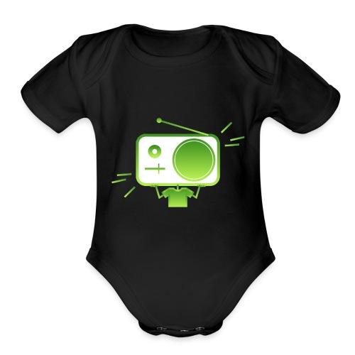 MusiqHead Green Ver 4 - Organic Short Sleeve Baby Bodysuit