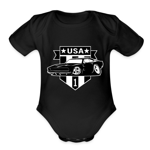 Classic Car with USA 1 Shield - Organic Short Sleeve Baby Bodysuit